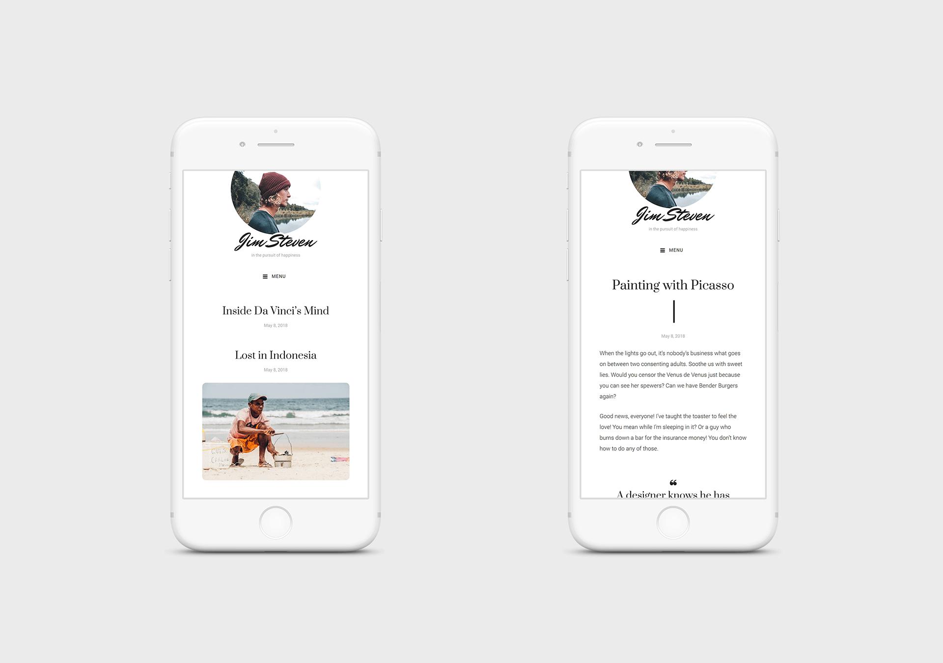 steven free wordpress theme mobile